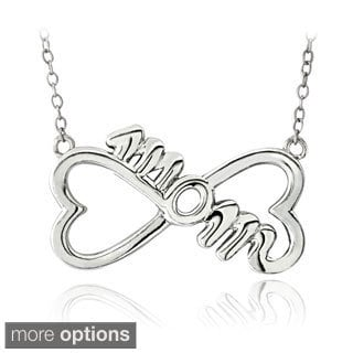 Mondevio Sterling Silver Infinity Heart 'Mom' Necklace