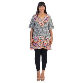 Hadari Women's Plus Size Tribal and Geometric Print Shift