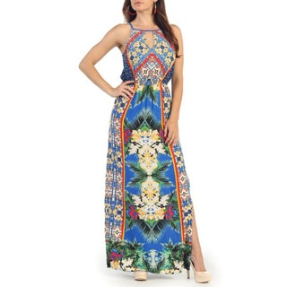 Hadari Women's Blue Floral Print Sleeveless Keyhole Dress