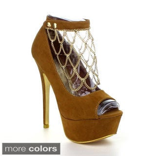 Liliana LUXY-16 Women's Velvet Netted Chain Peep Toe Pumps