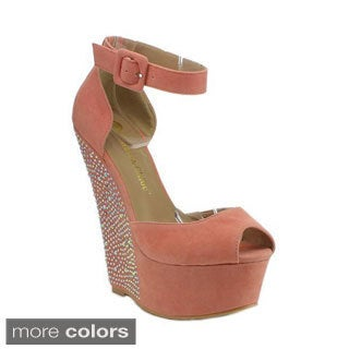 BE INTOUCH DUNES-17 Women's Ankle-strap Platform Wedges