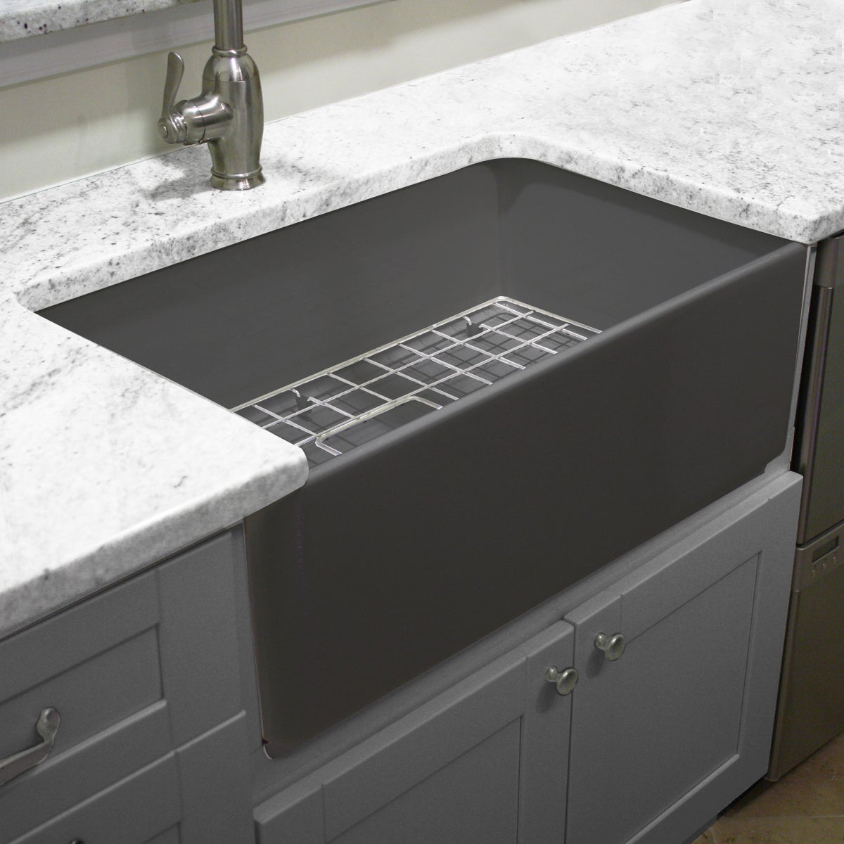 Collection Grey 30-inch Single Bowl Fireclay Farmhouse Kitchen Sink ...
