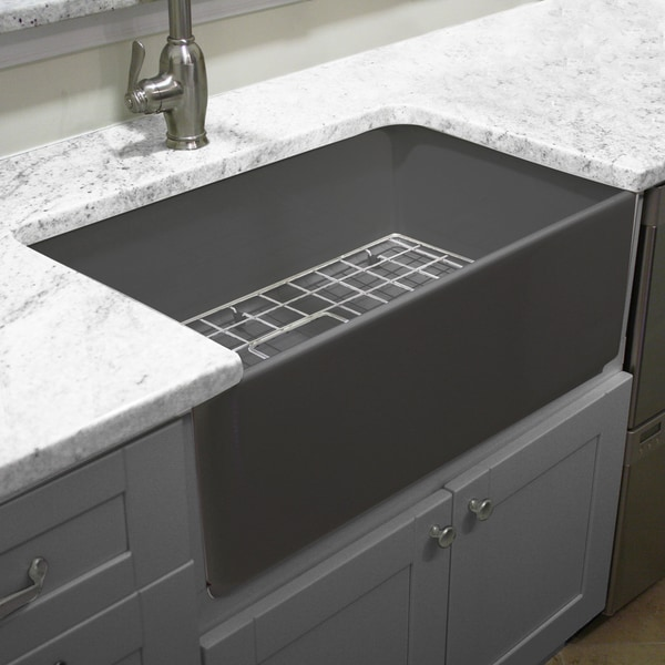 ... Collection Grey 30-inch Single Bowl Fireclay Farmhouse Kitchen Sink
