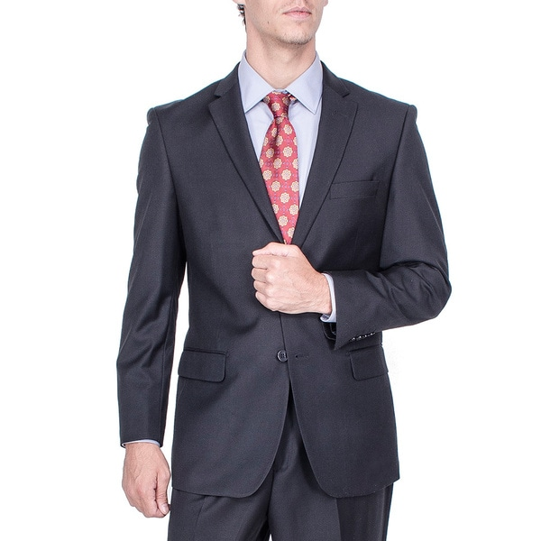 Men's Modern Fit Solid Black Pleated-pant Suit