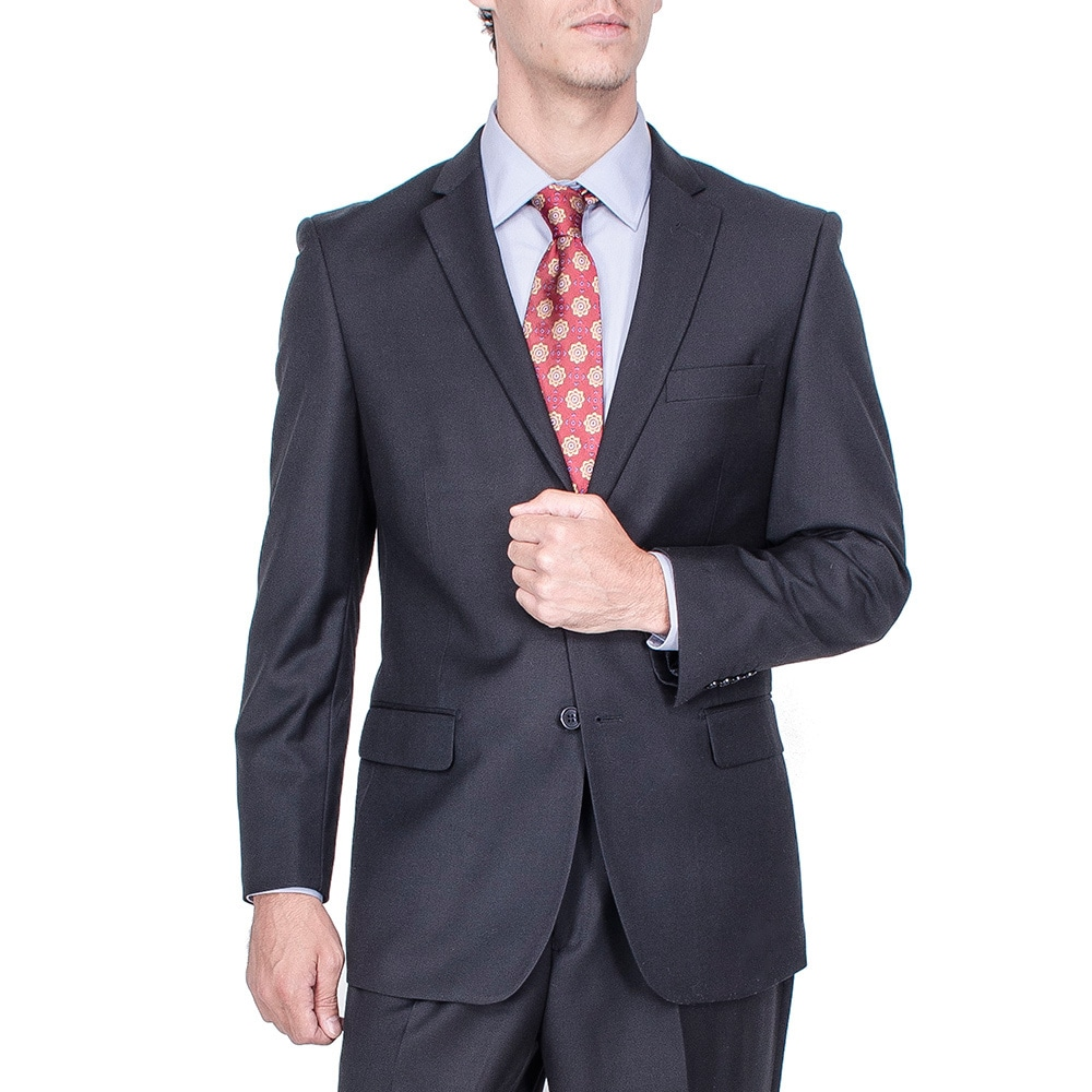 BLANK Men's Modern Fit Solid Black Pleated-pant Suit at Sears.com