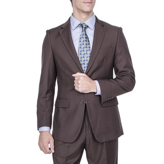Men's Modern Fit Brown 2-button Suit with Pleated Pants