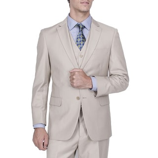 Men's Modern Fit Solid Beige 2-button Vested Suit