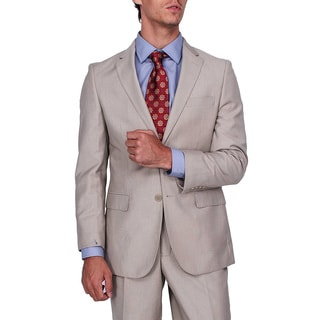 Men's Modern Fit Tan Micro-stripe 2-button Suit