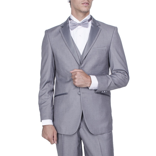 Men's Grey Vested Tuxedo with Smart Satin Trim