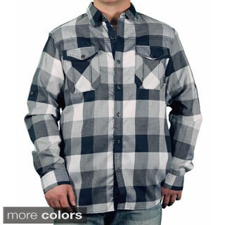 MO7 Men's Roll Sleeve Plaid Button-down Shirt