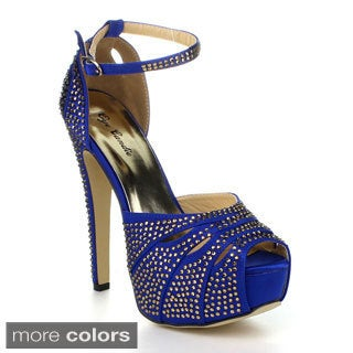 Eye Candie Gitygal-502 Women's Rhinestone Platform Heels