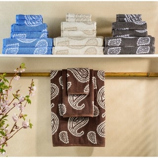 Simple Elegance Superior Collection Paisley Long Staple Cotton Bath Towels (Set of 2)