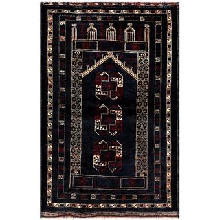 Herat Oriental Semi-antique Afghan Hand-knotted Tribal Balouchi Navy/ Beige Wool Rug (2'9 x 4'5)