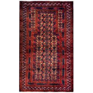 Herat Oriental Semi-antique Afghan Hand-knotted Tribal Balouchi Red/ Navy Wool Rug (2'10 x 5')