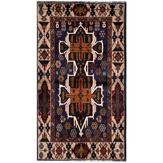 Herat Oriental Semi-antique Afghan Hand-knotted Tribal Balouchi Navy/ Beige Wool Rug (2'8 x 4'9)