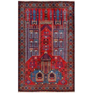 Herat Oriental Semi-antique Afghan Hand-knotted Tribal Balouchi Red/ Blue Wool Rug (2'10 x 4'6)