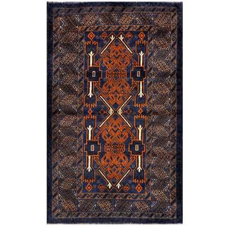 Herat Oriental Semi-antique Afghan Hand-knotted Tribal Balouchi Blue/ Brown Wool Rug (2'9 x 4'5)