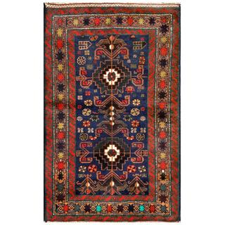 Herat Oriental Semi-antique Afghan Hand-knotted Tribal Balouchi Navy/ Red Wool Rug (2'8 x 4'2)