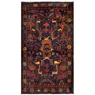 Herat Oriental Semi-antique Afghan Hand-knotted Tribal Balouchi Navy/ Beige Wool Rug (2'10 x 5'2)