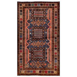 Herat Oriental Semi-antique Afghan Hand-knotted Tribal Balouchi Navy/ Brown Wool Rug (2'9 x 5')