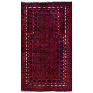 Herat Oriental Semi-antique Afghan Hand-knotted Tribal Balouchi Red/ Navy Wool Rug (2'11 x 5'2)