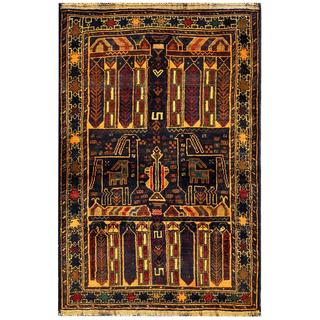 Herat Oriental Semi-antique Afghan Hand-knotted Tribal Balouchi Gold/ Navy Wool Rug (3'1 x 4'5)