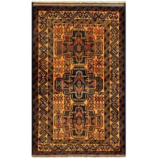 Herat Oriental Semi-antique Afghan Hand-knotted Tribal Balouchi Gold/ Navy Wool Rug (2'9 x 4'9)