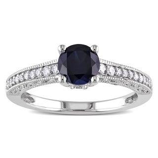 Miadora 10k White Gold Created Blue Sapphire and 1/5ct TDW Diamond Ring (H-I, I2-I3)