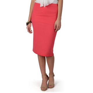 Hailey Jeans Co. Junior's Pink Textured Elastic Waist Pencil Skirt