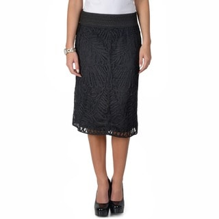 Journee Collection Women's Elastic Waist Lace Overlay Pencil Skirt