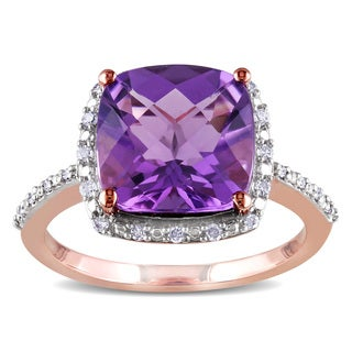 Miadora 10k Rose Gold Amethyst and 1/10ct TDW Diamond Ring (H-I, I2-I3)
