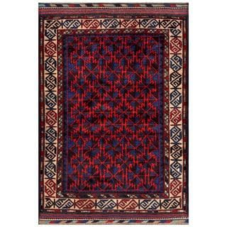 Herat Oriental Semi-antique Afghan Hand-knotted Tribal Balouchi Blue/ Red Wool Rug (2'9 x 4'1)