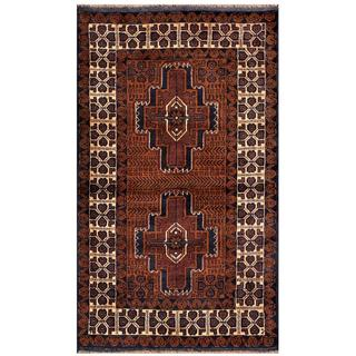 Herat Oriental Semi-antique Afghan Hand-knotted Tribal Balouchi Brown/ Navy Wool Rug (2'7 x 4'4)
