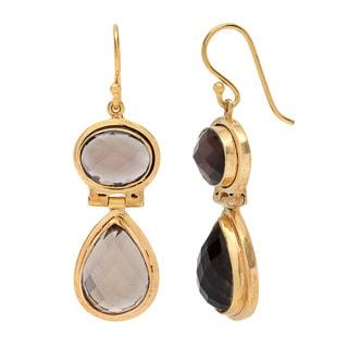Sitara Goldplated Double Smokey Quartz Dangle Earrings (India)