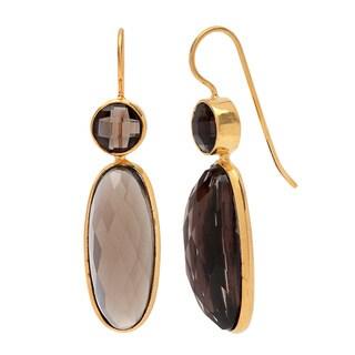 Sitara Goldplated Smokey Quartz Dangle Earrings (India)