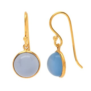 Sitara Goldplated Blue Chalcedony Dangle Earrings (India)