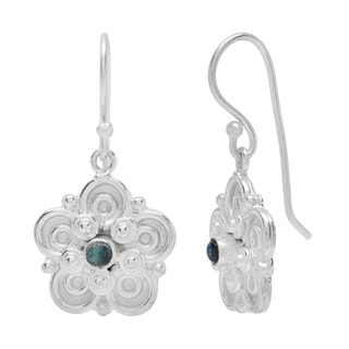 Sitara Silverplated Labradorite Scroll-work Dangle Earrings (India)