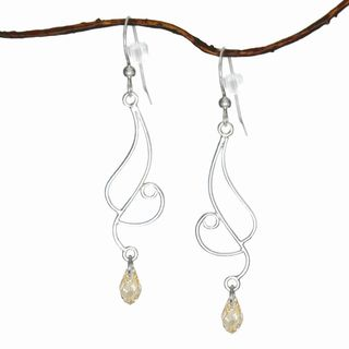 Jewelry by Dawn Long Curved Sterling Silver Earrings with Golden Shadow Crystals