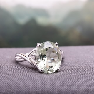 Miadora Sterling Silver 4 1/3ct TGW Green Amethyst and Diamond Accent Cocktail Ring