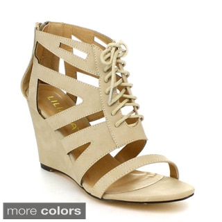 Liliana JADEN-2 Women's Gladiator Lace-up Wedges