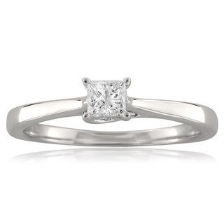 18k White Gold 1/4ct TDW Princess-cut Diamond Solitaire Ring (G-H, SI2)