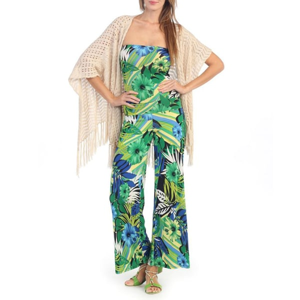 Hadari Women's Green and Royal Blue Floral Print Strapless Jumpsuit