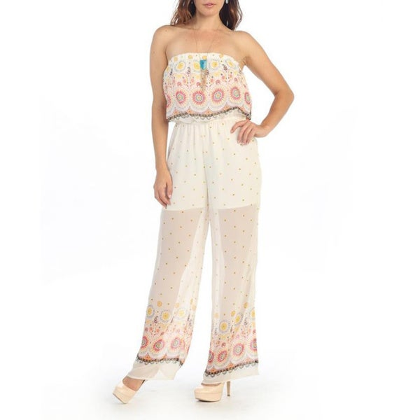 Hadari Women's White Sheer Strapless Floral Jumpsuit