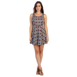 Hadari Women's Royal Artisan Print Sleeveless Dress