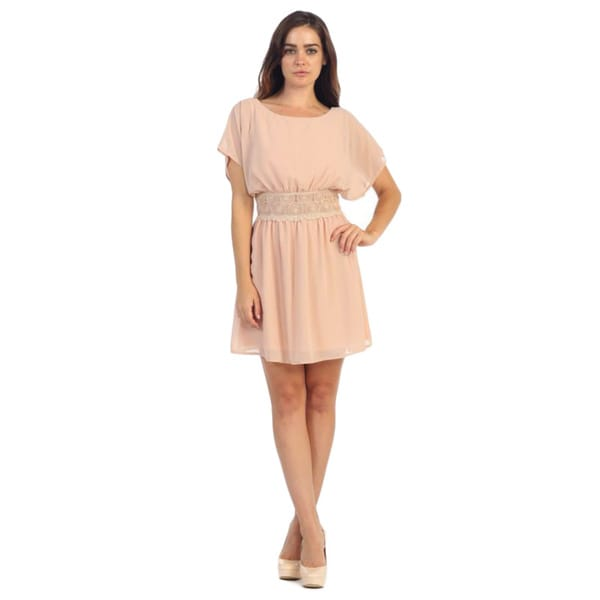 Hadari Women's Blush Embroidered Short Sleeve Dress