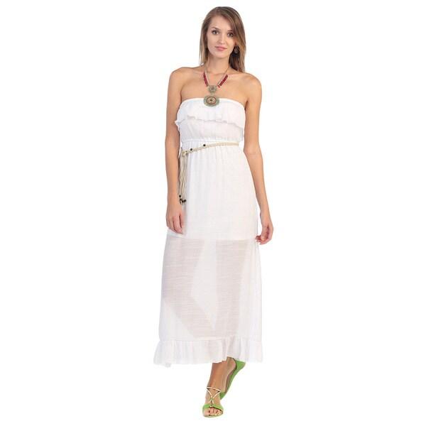 Hadari Women's White Ruffled Maxi Dress