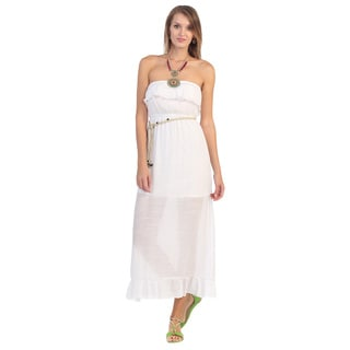 Hadari Women's White Ruffled Maxi Dress