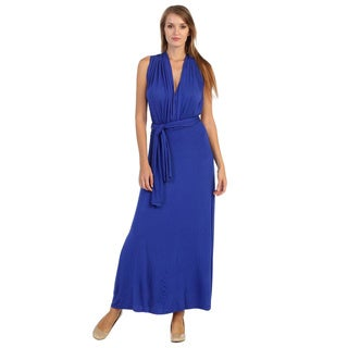 Hadari Women's Royal Blue V-neck Maxi Dress