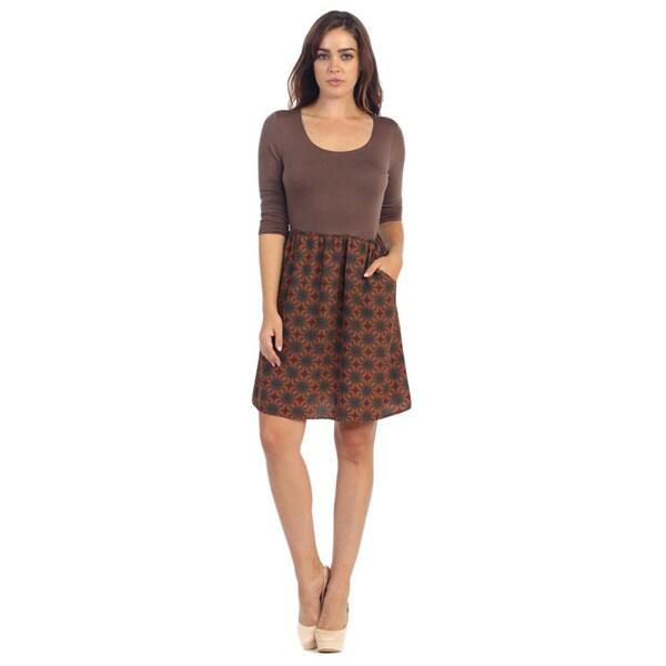 Hadari Women's Brown Abstract Scoop Neck Dress