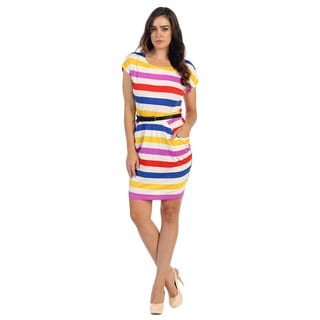 Hadari Women's Multi Striped Cap Sleeve Dress